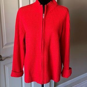 Liz Claiborne Lizsport Red zip up Sweater, XL